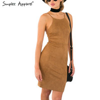 Simplee Apparel Sexy  lace up women dress Backless leather suede strap  summer dress  2016 new hollow out short dress vestidos