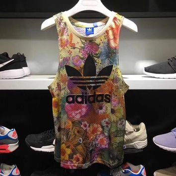 Adidas' Women Sports Casual Multicolor Feather Flower Print Sleeveless Vest T-shirt Tops