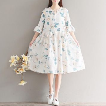 Japanese Mori Girl Floral Gauze Patchwork Dress Women's Summer Dress Robe New Mori Girl Half-Sleeve Novelty Female Dress Vestido