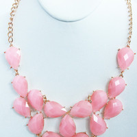 Pink Teardrop Bib Necklace Set