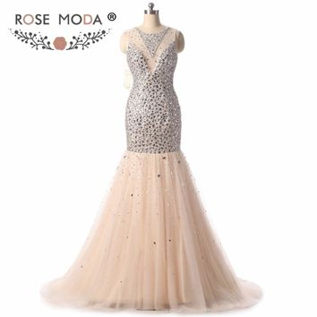 Rose Moda Champagne Gold Mermaid Prom Dress High Neck Silver Crystal Prom Dresses Formal Wedding Party Dress 2018