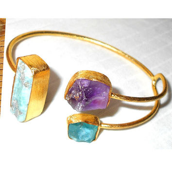 Apatite Bangle - Larimar Bangle - Amethyst Bangle - Gemstone Bangle - Adjustable Cuff - Matte Gold Jewelry - Raw Stone Jewelry