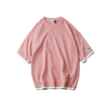 Half-sleeve Summer Round-neck T-shirts [9790795203]
