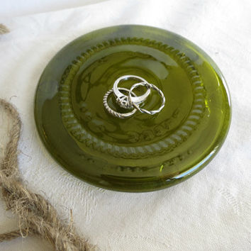 Recycled Glass Wine Bottle Bottoms Soap Dish Candle Holder Ring Dish Gift for Him Gift for Her