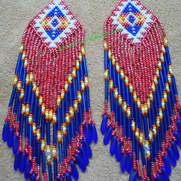 Native American inspired brick stitched Red White and Blue shoulder duster earrings