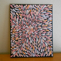 Abstract Painting Peach Aboriginal Inspired 9 x 12 by Acires