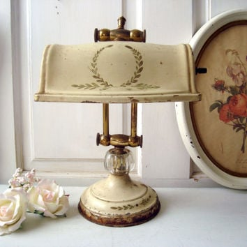 Vintage Desk Lamp, Mid Century Library Lamp with Brass Accent, Cream Distressed Shabby Chic Lamp, Working Lamp, Photo Prop
