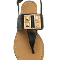 Faux Leather Studded T-Strap Sandals