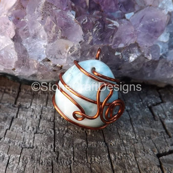 Larimar pendant jewelry natural gemstone solid dominican republic blue rare larimar necklace handmade larimar jewelry copper wrapped jewelry