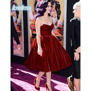 Tea Length A Line Velvet Katy Perry Sweetheart Party Prom Dresses 2016 Short Red Custom Made Vestido De Festa Cocktail Dresses