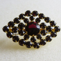 Vintage Marsala Czech Rhinestone Brooch, Deep Garnet Red Crystal Brooch Pin, Marked Czechoslovakia, 1930s