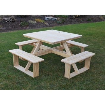 "A & L Furniture Co. Pressure Treated Pine 44"" Square Walk-In Table - Specify for FREE 2"" Umbrella Hole  - Ships FREE in 5-7 Business days"