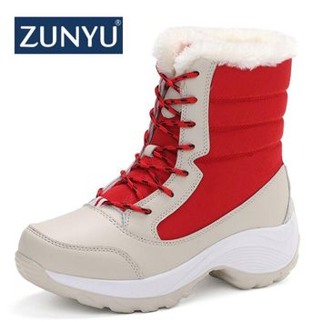 ZUNYU white winter boots women fashion snow boots new style women's shoes Brand shoes high quality fast free shipping girlw boot