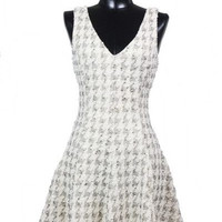 Uptown Bound Metallic Houndstooth Dress - Ivory