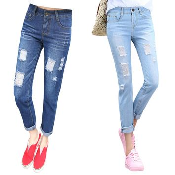 Fashion Women Jeans Loose Ankle-Length Ripped