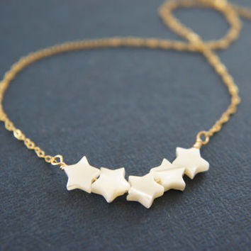 Mother of pearl, shell, star bar necklace, wedding, bridesmaid, gift