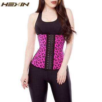 HEXIN Women's Faja Clasica Animal Print Workout Waist Cincher Latex Slimming Girdle Leopard Steel Boned Corset Waist Trainer