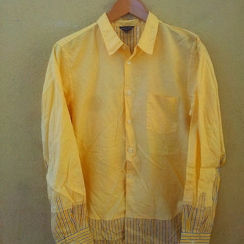 ON SALE Original COMME Des Garcons Homme Plus By Junya Watanabe Stripe Yellow Buttondown Casual Longsleeve Shirt