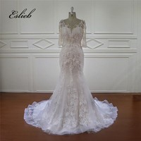 Elegant Pearls Flowers Mermaid Wedding Dress Half Sleeves Court Tail Bridal Dress Lace up Back Tulle O Neck Bridal Gown