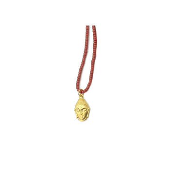 Coral Buddha Head Talisman Necklace