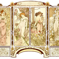 Nouveau 4 Panel Lady by Alphonse Mucha Fine Art Print