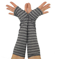Arm Warmers in Grey Ombre - Striped Sleeves - Fingerless Gloves