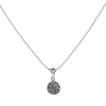 Om | Ohm Amulet Men's Sterling Silver Necklace in Military Ball Chain