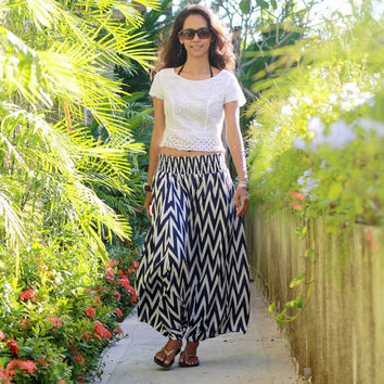 Chevron Harem Skirt / Blue Navy Harem Pants / Maxi Skirt in Blue and White / Women's Chevron Skirts / Summer Maxi Skirt