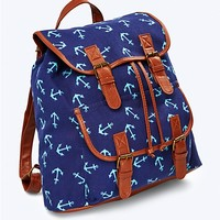 Printed Canvas Bucket Backpack