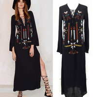 boho dress 2016 Women Bohemian Long Dress Sexy Deep V-Neck Black Hippie Embroidery Dresses With Slit Hippie Boho People clothing