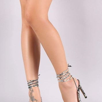 Qupid Clear X-Band Lace Up Stiletto Heel