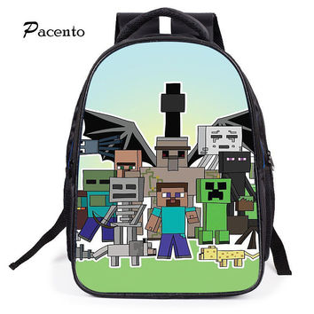 2017 Cute MineCraft Cartoon Backpack Boys Cartoon School Bags Hot Primary Backpack School Bags for Boys Mochila Sac A Dos