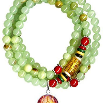 Dai Ko Myo Reiki Master Green Dyed Jade Stone Wrap Bracelet or Necklace