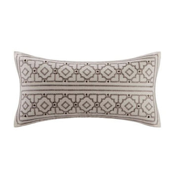 Echo Design Odyssey  Cotton Faux Linen Oblong Pillow w/ Embroidery and Buttons, Ivory