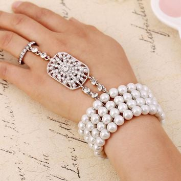 Elastic Simulated Pearl Wedding Bella Bracelets