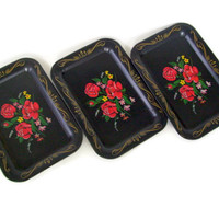 Vintage Tin Snack Trays Mid Century Set of 3 Black and Roses