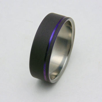 Sandblasted Titanium ring with plum crazy purple pinstripe,  Handmade titanium wedding band