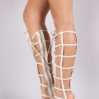Caged Lace-Up Gladiator Stiletto Heel
