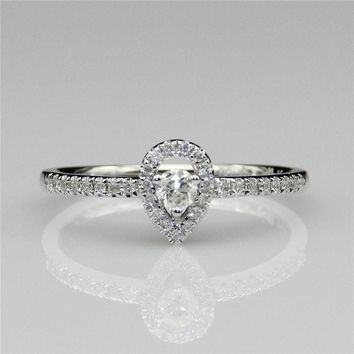 Diamond 0.25CTW Round Center Pear Shape Halo Accents 0.1CT 14k White Gold Diamond Engagament Ring(CFR0321)