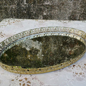 "Vintage Filigree Oval Mirrored Vanity Tray 17"" Whitewashed Gold"