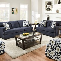 Simmons 6491 Caprice Midnight Indigo Sofa and Loveseat