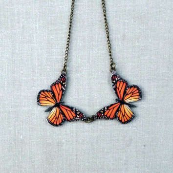 Monarch butterfly necklace, Wing necklace, Butterfly necklace, Butterfly pendant, Colorful butterfly necklace, Christmas gift