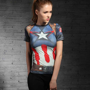Women Sport T shirt Captain America 3D Printed T-shirts Compression Shirt Slim Short Sleeve Marvel Cosplay Superman Tops