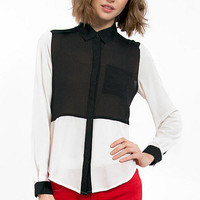 Colorblock Button Up Blouse $33