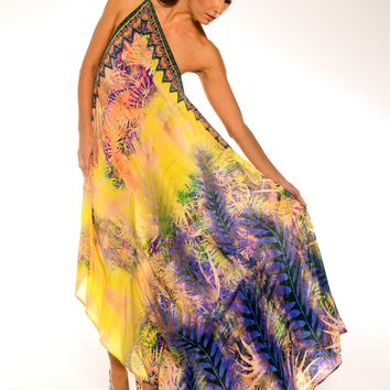 Shahida Parides Yellow Silk Dress | Designer Silk Dress