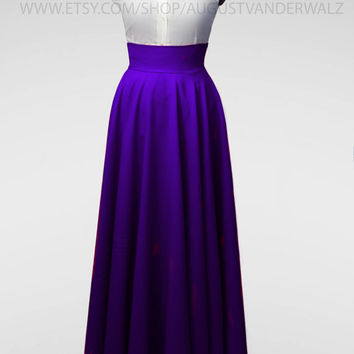 Maxi skirt, long skirt, circle skirt, purple  Skirt, Skirt with Pocket, Midi Skirt, Floor-length pleated skirt, full length skirt, plus size