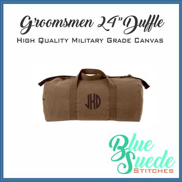 "Canvas Duffle Bag - 24"" Monogrammed for the Groomsmen"