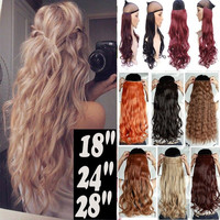 "Super Long 50 COLORS!!! 18-28"" inches Curly/Wavy Hair Piece 3/4 Full head Clip in Hair Extensions 5Clips on Hair Extentions"