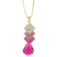 Baroque Drop Square Swarovski Elements Crystal Pendant Necklace - Fuchsia