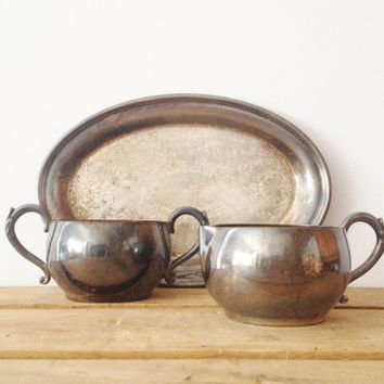 Silver Creamer and Sugar Set - Silver Plated - William Rogers